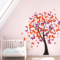 Butterfly Pattern Nursery Tree Wall Sticker Kids Room Decor Butterflies Blossom Vinyl Wall Decals Girls Room Wall DIY Art AZ532