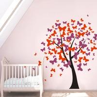 Butterfly Pattern Nursery Tree Wall Sticker Kids Room Decor Butterflies Blossom Vinyl Wall Decals Girls Room Wall DIY Art AZ532