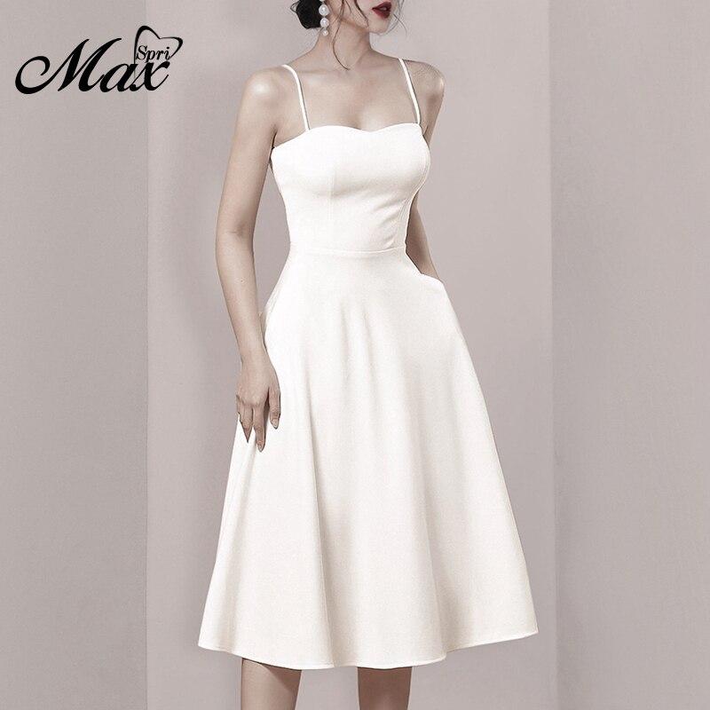 Max Spri Women A-Line Fashion Party Dresses 2019 Summer New Bodycon Elegant Strap Club Dresses Casual Hot