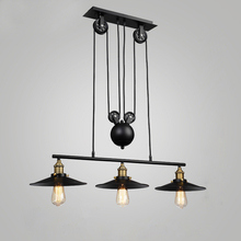 Lámparas colgantes clásicas Loft, lámpara de polea de hierro, Decoración de cocina para el hogar con bombilla E27 Edison, lámpara colgante de polea pintada de negro
