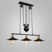 Loft Vintage Hanglampen Ijzer Katrol Lamp Keuken Home Decoratie Met E27 Edison Lamp Zwart Geschilderd Katrol Hanglamp