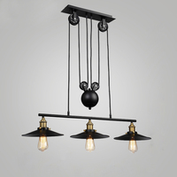 Loft vintage pendant lights Iron Pulley Lamp Kitchen Home Decoration With E27 Edison bulb black painted pulley pendant light
