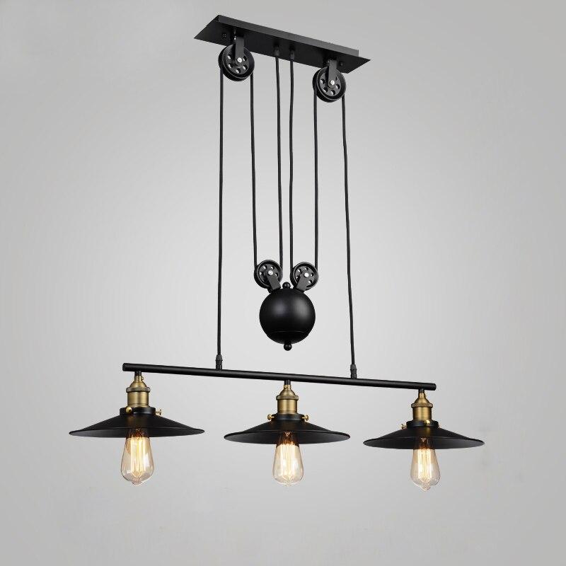Loft vintage pendentif lumières Fer Poulie Lampe Cuisine ...