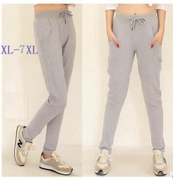 2017 Spring Autumn Women Casual Sweatpants Trousers High Waist Pure Cotton Pencil Pants Plus Size XL -XXXXL 5XL 6XL 7XL