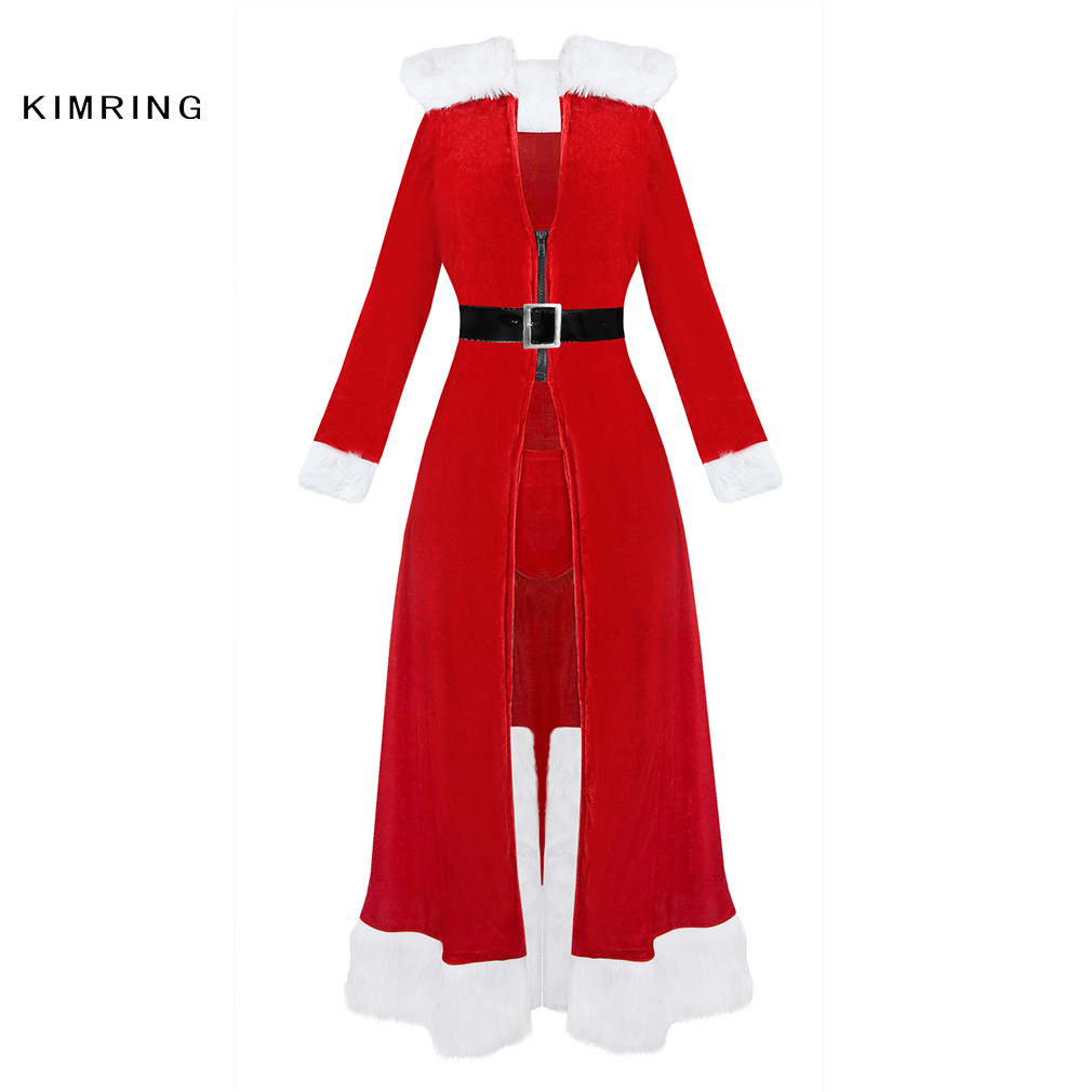 16c1fd4b72 Kimring Sexy Miss Claus Robe Christmas Costume Santa Claus Red Robes  Christmas Cosplay Fancy Dress-in Holidays Costumes from Novelty   Special  Use on ...