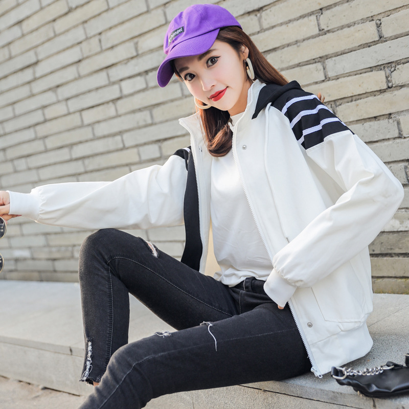 Women Windbreaker   Jacket   Female Multicolor Patchwork Hooded   Jacket     Basic     Jackets   Color Block Coats For Women Outerwear 190402