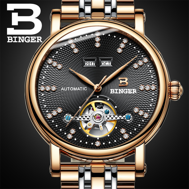 Switzerland BINGER watches men luxury diamond Full stainless Steel sapphire Superior quality