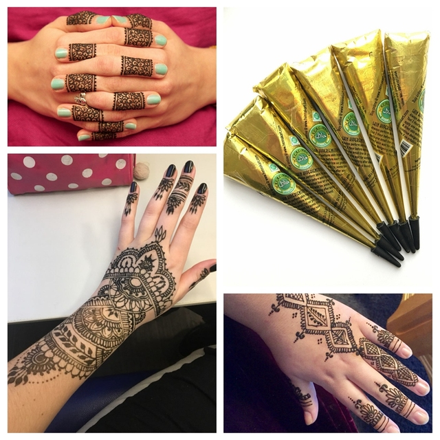 6pcs Lot Black Ink Color Indian Henna Tattoo Paste Waterproof