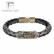 94405639fefb Punk Animal pulseras bronce escorpión patrón negro marrón cuero brazalete  brazaletes para hombres mujeres hebilla magnética puls.