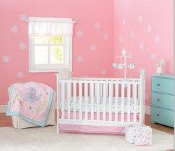 7 stks Wieg Baby Beddengoed Set Baby Nursery Geborduurde Cot Ropa de Cama Wieg Bumper, omvatten (4 bumpers + dekbedovertrek + bed cover + bed rok)