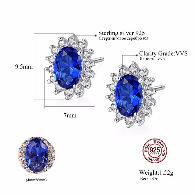 CZCITY New Natural Birthstone Royal Blue Oval Topaz Stud Earrings With Solid 925 Sterling Silver Fine Jewelry For Women Brincos 4