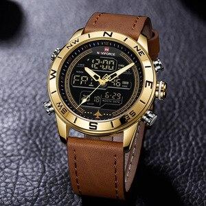 Image 2 - NAVIFORCE 9144 moda złoto mężczyźni Sport zegarki męskie LED zegarek analogowo cyfrowy armia skórzany wojskowy zegarek kwarcowy Relogio Masculino
