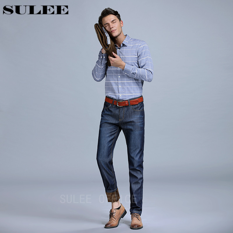SULEE Brand New Winter Activities Warm flannel Line Fleece Jeans Comfortable Denim Trousers Thickening Business Casual