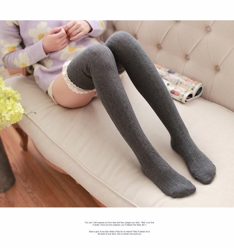 Pitsiga ääristatud paksud sukad