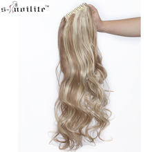 SNOILITE 12-26inch wavy ponytail Hair Extensions claw clip in ponytail synthetic clip in ponytail Hairpieces for women(China)