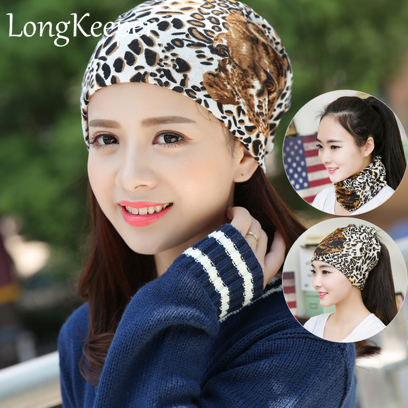 New Fashion Women Beanie Hat Cap Autumn And Winter Hats Female Ladies Leopard Scarf Hat Skullies 3 Usages To Wear zea rtm0911 1 children s panda style super soft autumn winter wear cap scarf set blue