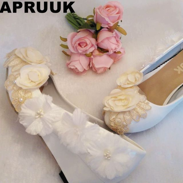 b8b4ec9ba Champagne white flowers wedges heel wedding pumps shoes woman round toes bride  bridal flower girl dress shoe custom handmade