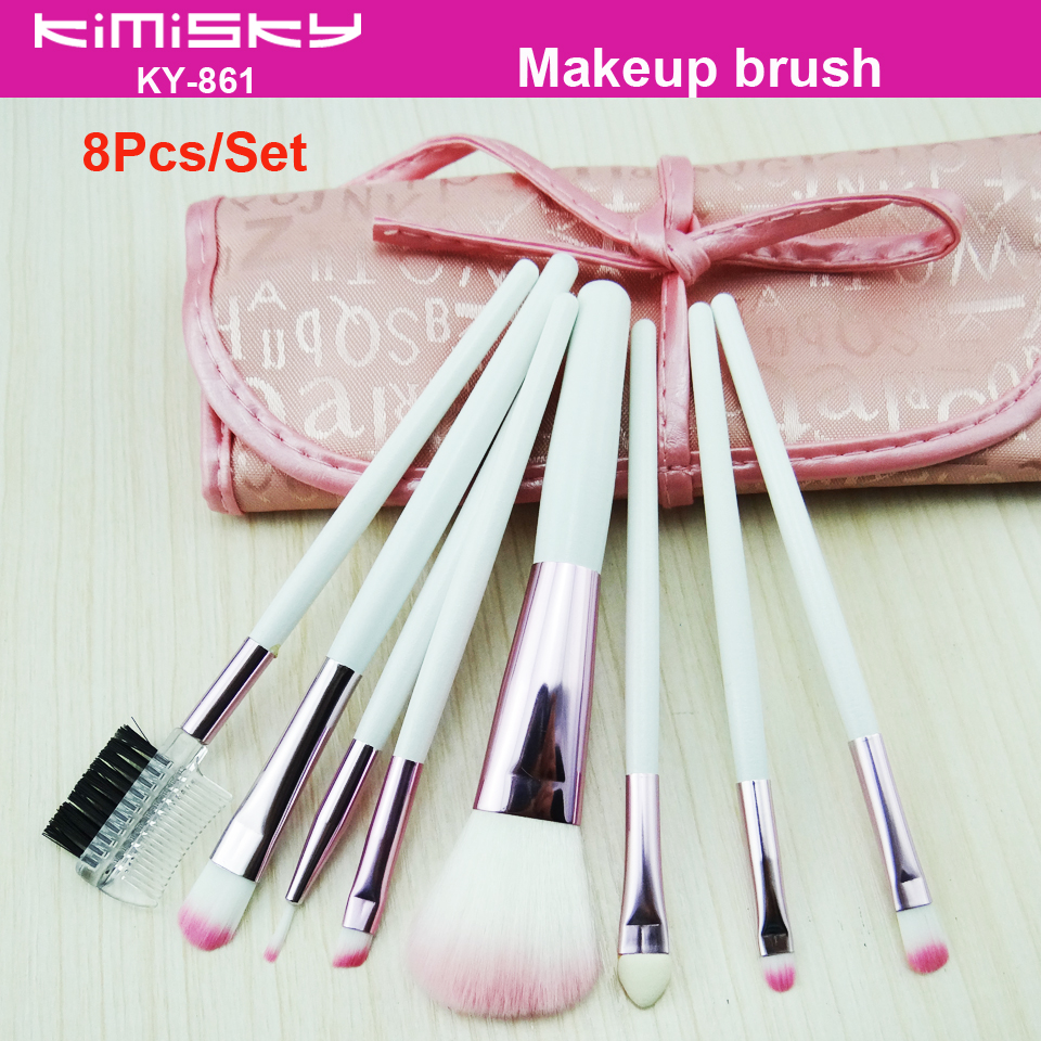 High Quality 8pcs Makeup Brush Set New White Beautiful Powder Blush Eyeshadow Make Up Brushes Pink package