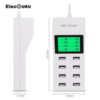 Elecguru 8 USB Ports US EU UK Optional For Charger With LCD Display Smart Phone Charger