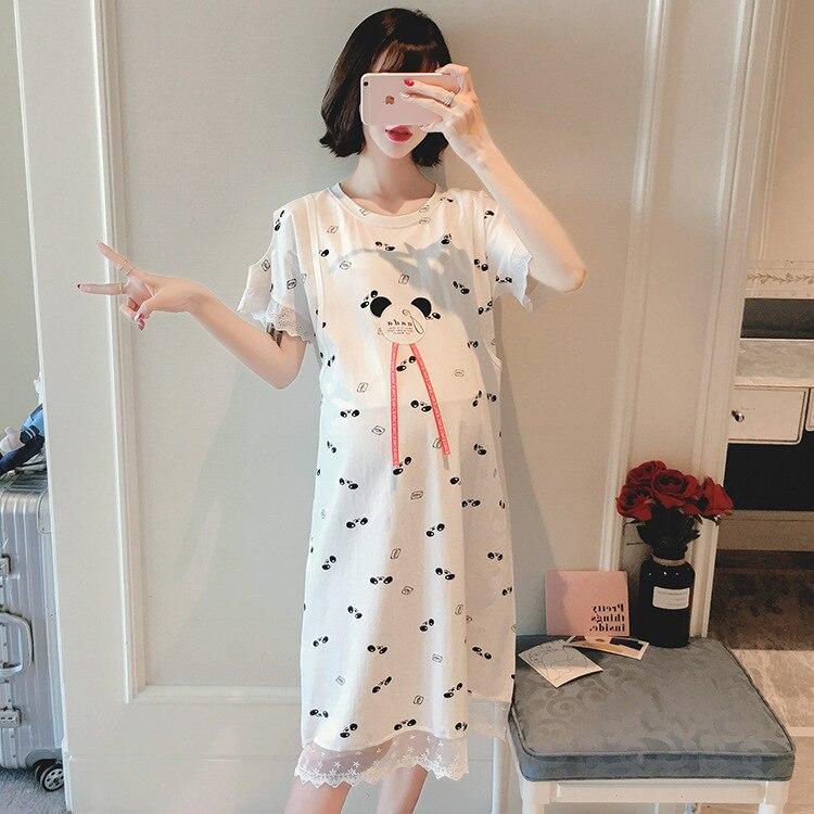 verao de algodao fino camisola doce impresso sleepwear gravida com a alimentacao de enfermagem da maternidade