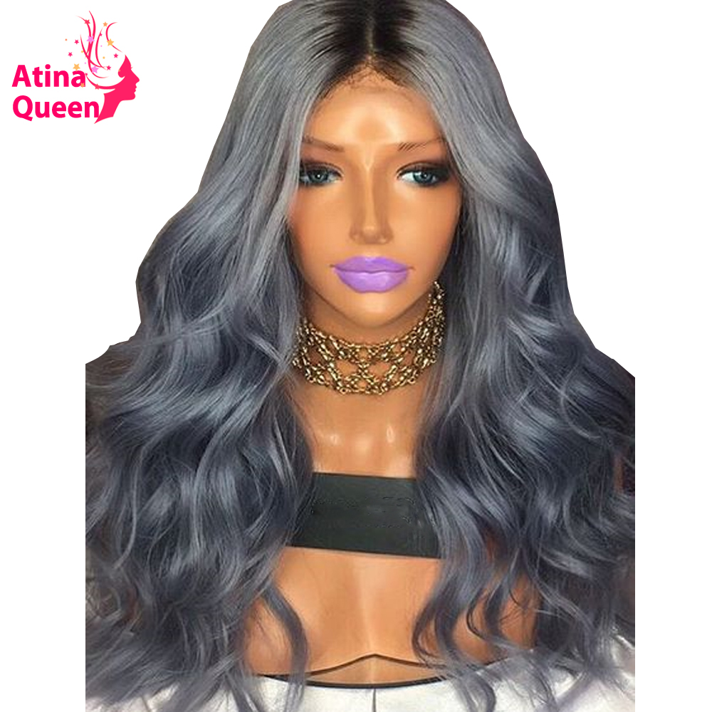 Atina Queen Ombre Gray Lace Front Human Hair Hair Wigs For Women 150 Density Remy Body Wave Black 1b Grey Wig With Baby Hair
