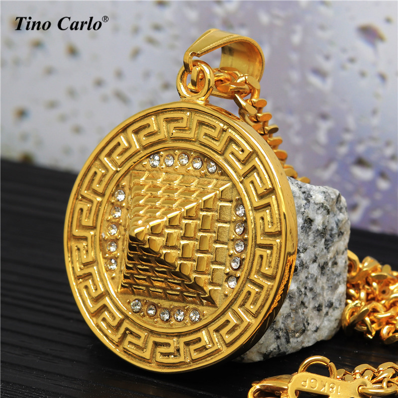 Tino Carlo Mens Pyramid Egypt Necklace Classic 3D Pyramid Dog Tag Medal Necklace S.Steel ...