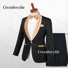 Gwenhwyfar Black Tuxedo Gold Lapel Blazer 2 Pieces Men Suits Jacquard Suit Tuxedos 2019 For Wedding Men suits ( Jacket+Pants)