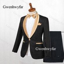 Gwenhwyfar Siyah Smokin Altın Yaka Blazer 2 Adet Erkek Takım Elbise Jakarlı Suit Smokin 2019 Düğün Erkek takım elbise (Ceket + pantolon)