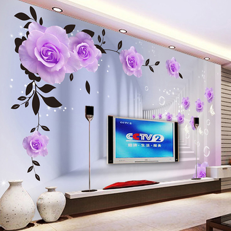 purple rose wall 3d bedroom background living mural tv roses stereo modern custom wallpapers flower papers sofa aliexpress decor painting
