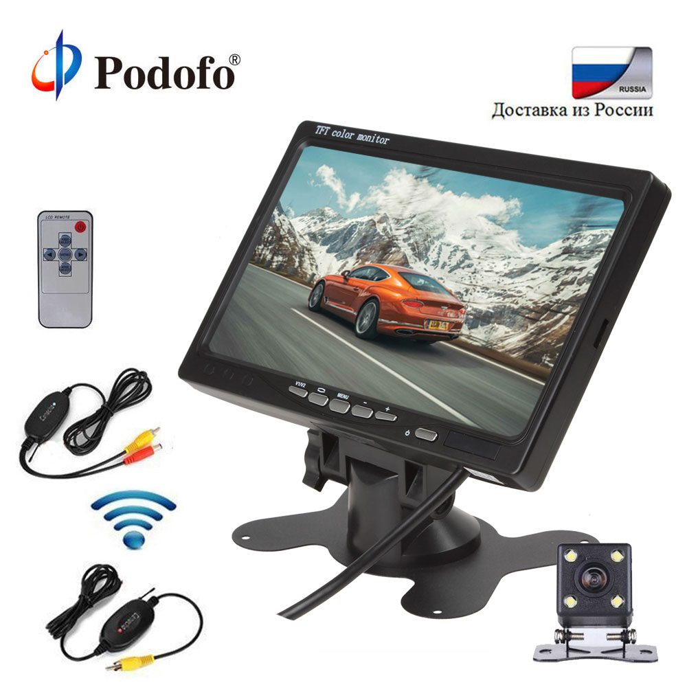 Podofo Wireless Parking Assistance System kit Assistance Mini Car Rear View Camera + 7inch TFT LCD Car Backup Reverse Monitor wireless car rear view kit 4 3 tft lcd vehicle screen monitor 170 wide degree mini reverse backup camera parking sensor 4 radar