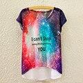 Marca Novo 2016 Moda Noite Céu Estrelado T-shirt Verão Estilo Mulheres impressão Fronteira Irregular Harajuku T shirt Para Senhora 65% algodão