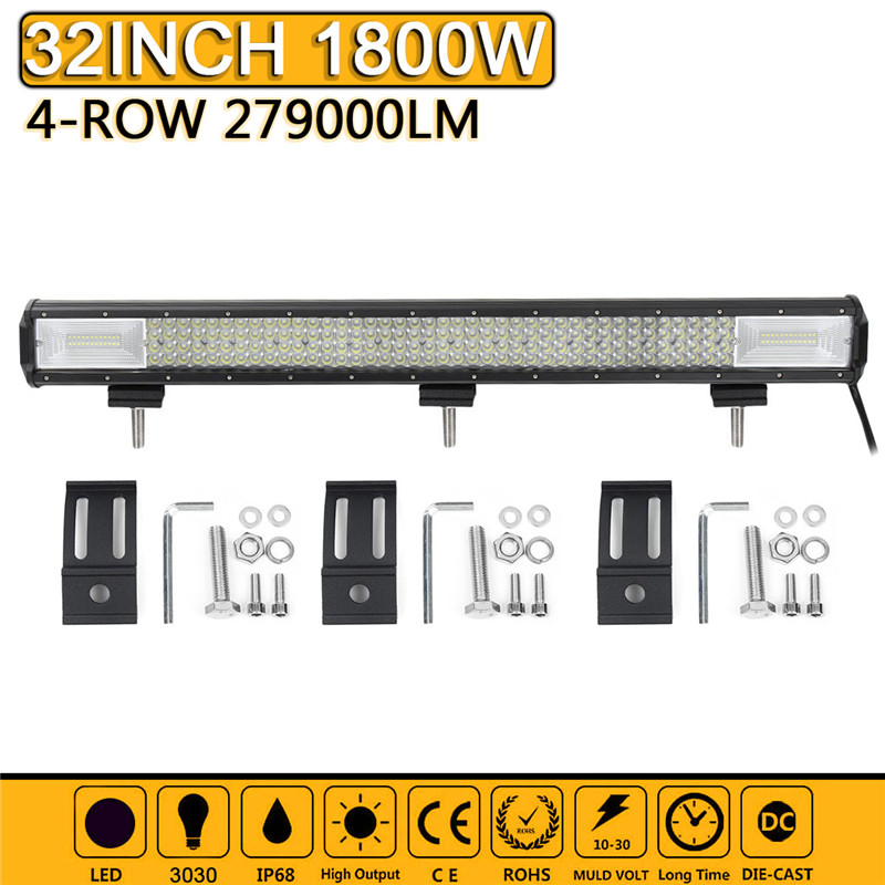 32 inch 4-Row LED Light Bar Spotlight Combo Flood Led Work Light Bar for Car Truck SUV ATV Roof Dome LED Lamp Bar brand new universal 40 w 6 inch 12 v led car work light daytime running lights combo light off road 4 x 4 truck light