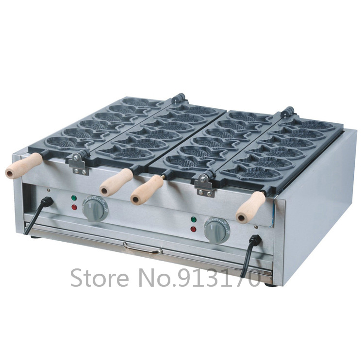Japanese style Fish-shape Cake Machine Taiyaki Machine with 12 Molds 2 pans 220V50Hz silicone round shaped style 27 in 1 cookie cake molds plate coffee