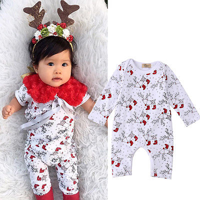 Newborn Infant Baby Girl Long Sleeve Rompers Deer Print Jumpsuit Playsuit Outfits Costume Cosplay Clothes