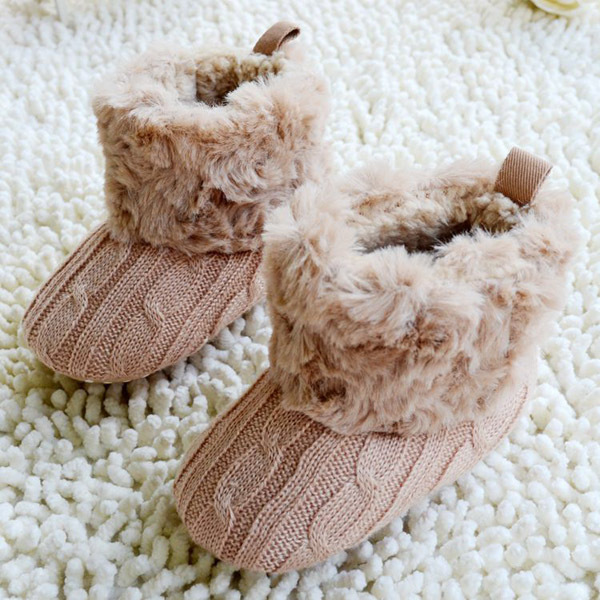 Baby Kid Knitted Fur Snow Boots