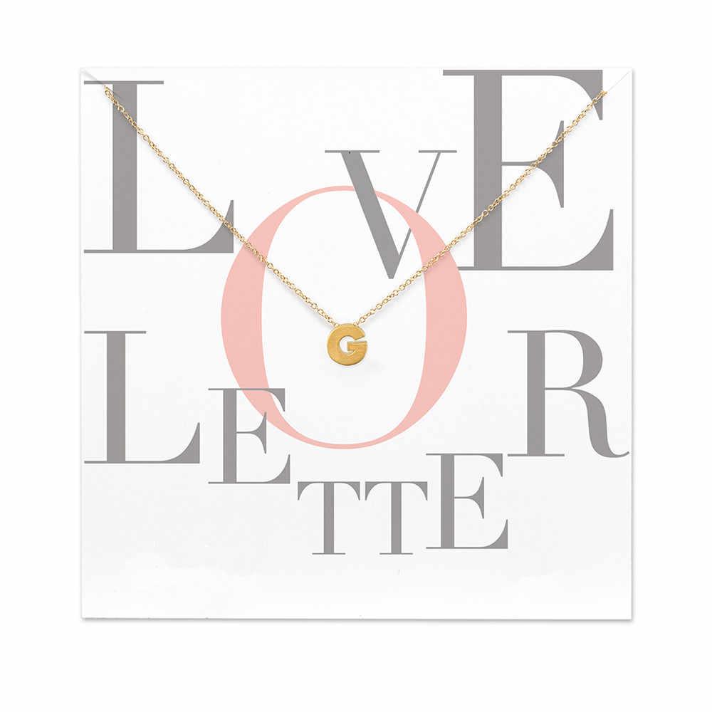 Ma karty moda biżuteria 26 słowo alfabet list miłosny A B C D E F G H J K L M N O P P R S T U V Z wisiorek naszyjnik dla kobiet