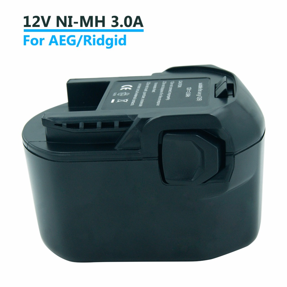 3000mAh Ni-MH 12V Cordless Tools battery For AEG/Ridgid AEG BS 12 G, AEG BS 12X, B1220R, B1214G, B1215R, M1230R аккумулятор для aeg ni cd b1215r b1214g b1214 g b 1214g b 1214 g m1230r 0700 980 320 b1220r m1230r tb2112r 19c bs12g bs 12g
