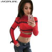 JYConline Autumn Sexy Striped Pullover Sweater Lace Up Knitted Women Sweater Cropped Female Pullover Tops Short