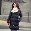 Высокое качество 2016 зимняя куртка для женщина шею толстый хлопчатобумажный пиджак однобортный парка долго женские вниз пальто Q737