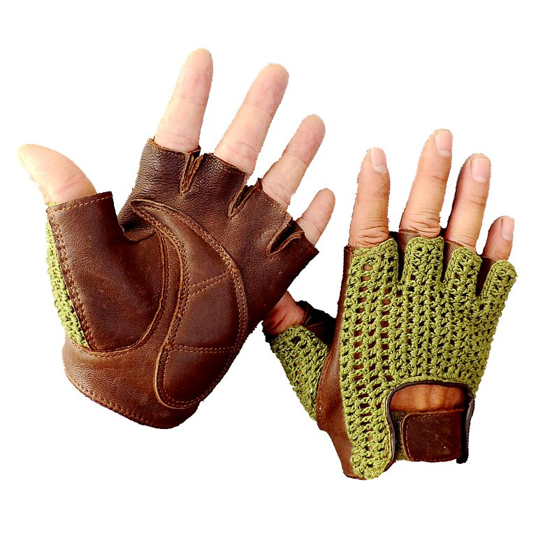 2018 The Latest Genuine Leather Half Finger Mesh Breathable  Gloves Cowhide  + Knit Gloves Unisex A149-5