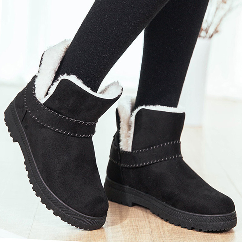 Ankle boots for women fur slip-on fashion woman rubber waterproof boots designer luxury women shoes bota feminina