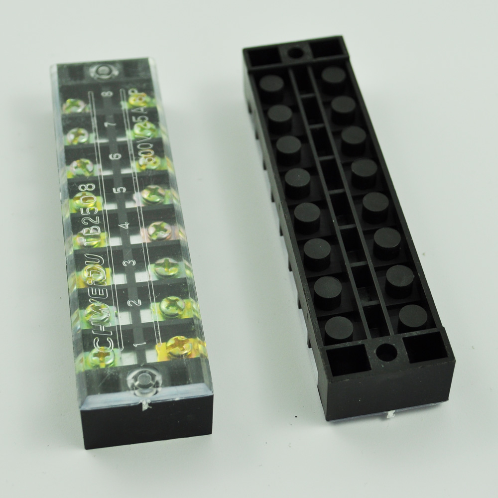 цена на Promotion! New 2 Pcs 8 Position Double Row Screw Terminal Covered Barrier Strip 600V 25A