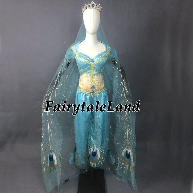 2019 Movie Aladdin Jasmine Cosplay Costume Adult Halloween Princess Costume Peacock Decoration Belly Dance Top Pants with Veil