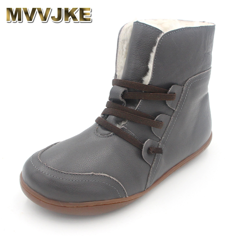 MVVJKE 35-42Women's Boots Winter Shoes Wool Genuine Leather Shoes Round toe Lace up Ladies Ankle Boots Female Footwear A042