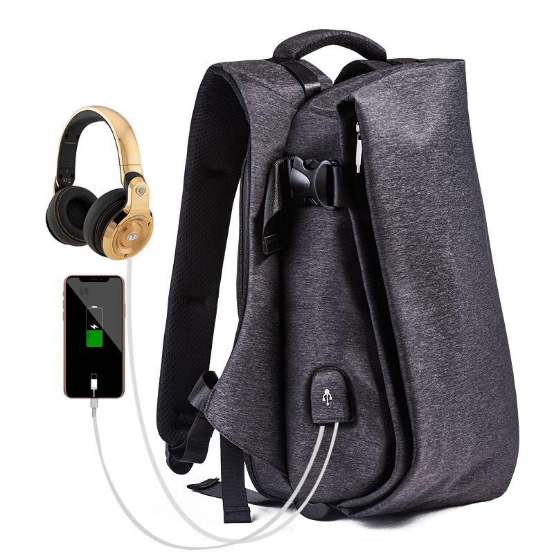 Fashion Men Backpack Laptop Headphone Hole USB Port Waterproof Travel Backpack Large Capacity Teenagers College School Backpack image