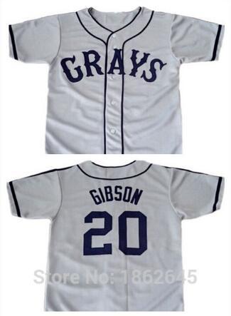SexeMara Josh Gibson  20 Homestead Grays Negro National League Button Down shirts  jersey color gray ed149331b7
