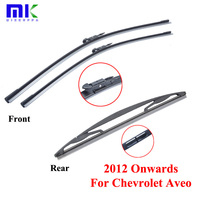 Combo Silicone Front And Rear Wiper Blades For Chevrolet Aveo 2012 Onwards Windscreen Rubbers Wipers Car