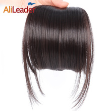 AliLeader Neat Front Clip In Hair Bang Extensions Short Straight Synthetic Hair False Fringe Hairpieces Black Brown Blonde(China)