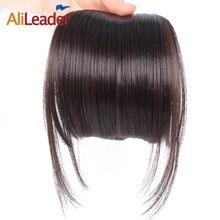 AliLeader Natürliche Schwarz Braun Ordentlich Front Clip In Haar Pony Extensions Clip Auf Synthetische Haar Falsche Fringe Haarteile