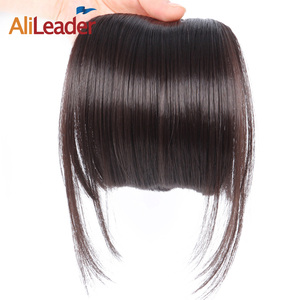 AliLeader Natural Black Brown Neat Front Clip In Hair Bangs Extensions Clip On Synthetic Hair False Fringe Hairpieces